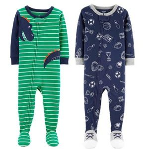 NEW NWT set of 2 Carter's cotton footies size 12 m